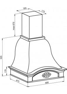 Вытяжка каминная Vialona Cappe Лилия 60 Луизиана Бук Белый Муар
